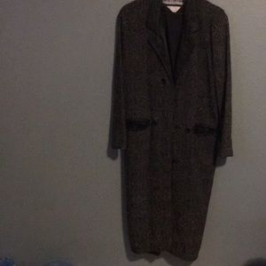 Vintage men's wool blend and leather coat small